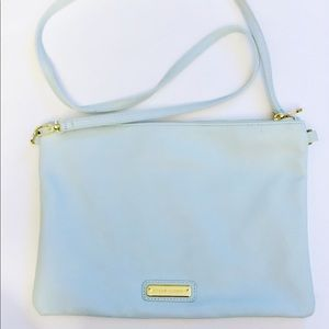 Steve Madden teal with gold stripe crossbody purse